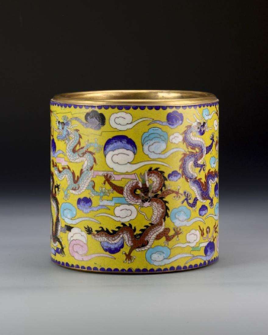 Chinese Cloisonne Brush Pot