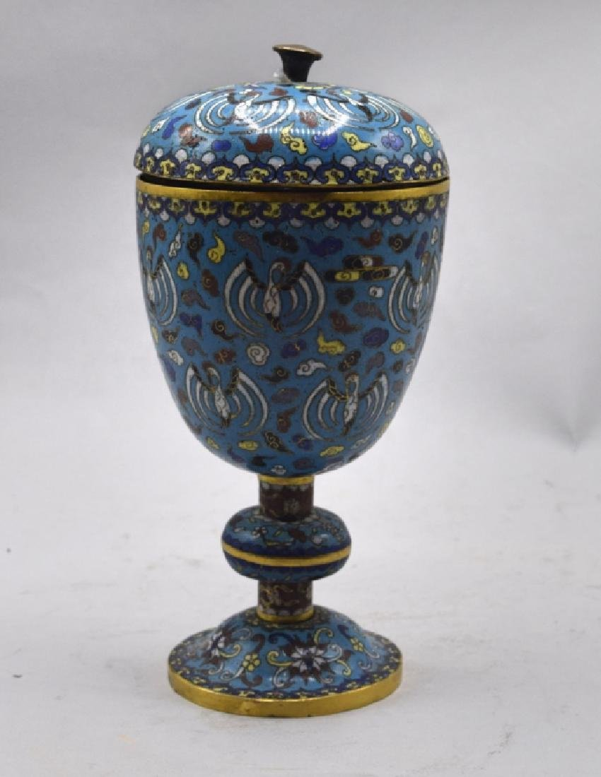 Chinese Cloisonne Lidded Urn - 2