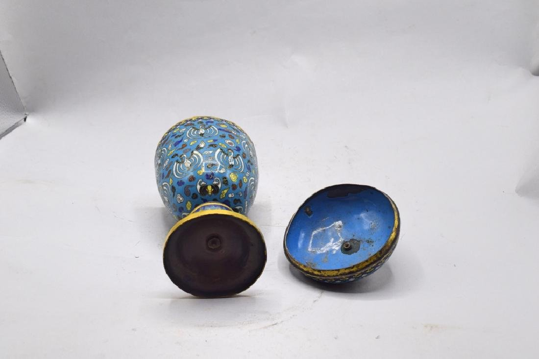 Chinese Cloisonne Lidded Urn - 3