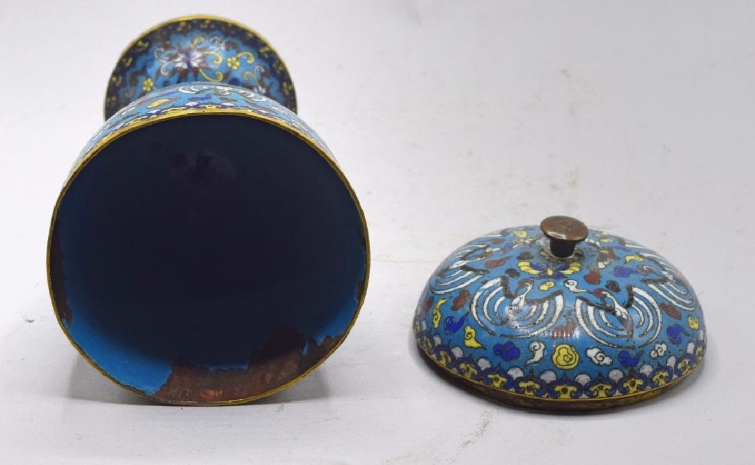 Chinese Cloisonne Lidded Urn - 5
