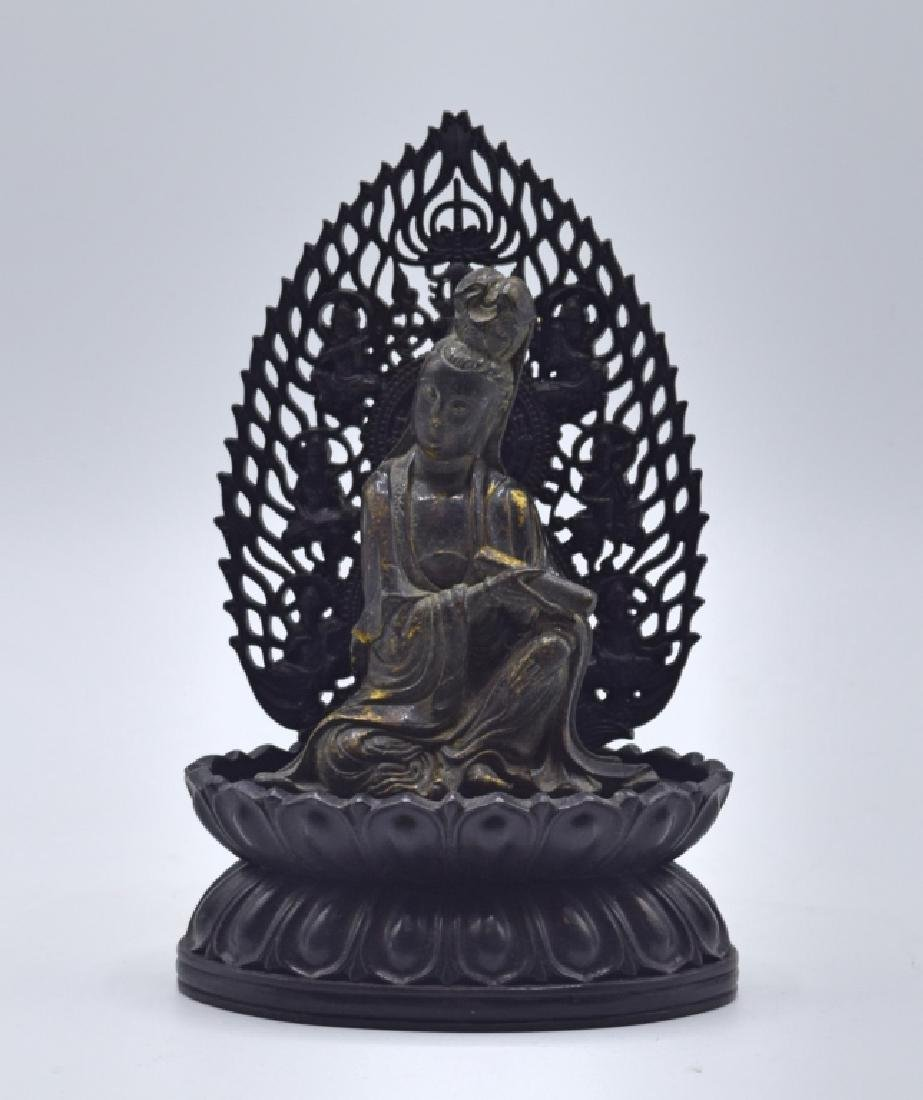 Chinese Gilt Bronze Statue of Guanyin with Stand