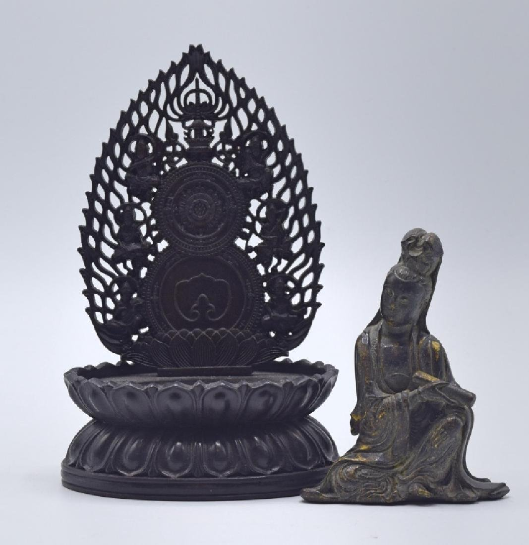 Chinese Gilt Bronze Statue of Guanyin with Stand - 2