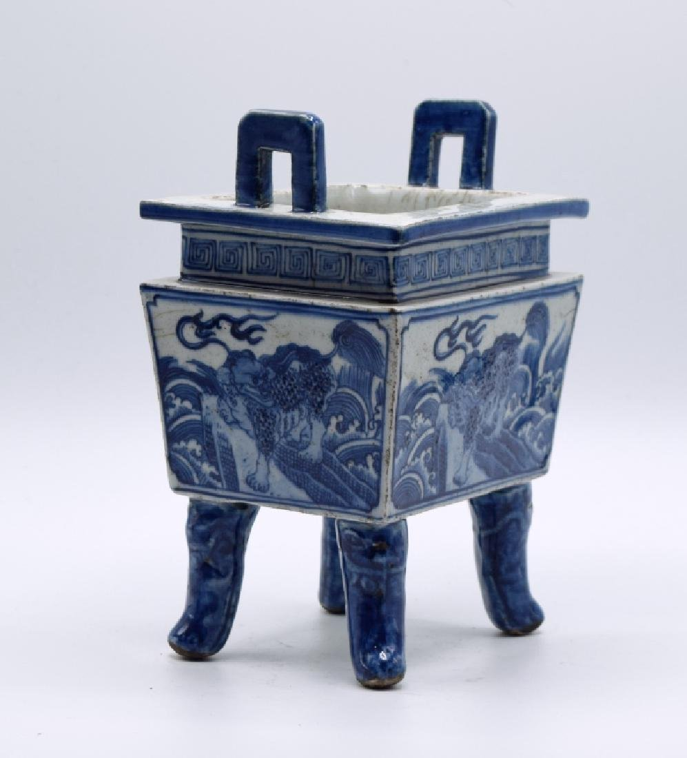 Chinese Blue and White Censer - 2