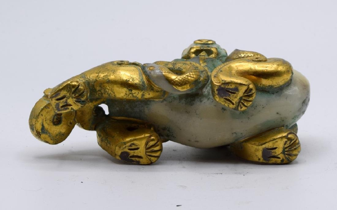 Chinese Gilded Jade Carving of Foo Dog - 5