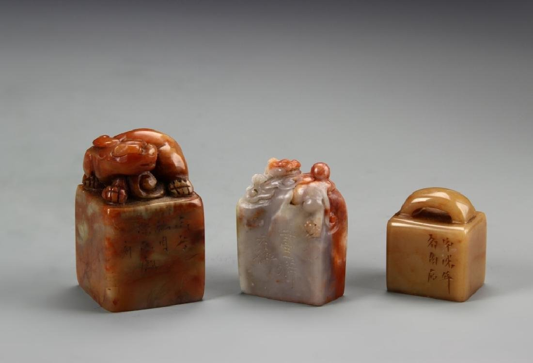 Three Chinese Stone Seal Chops