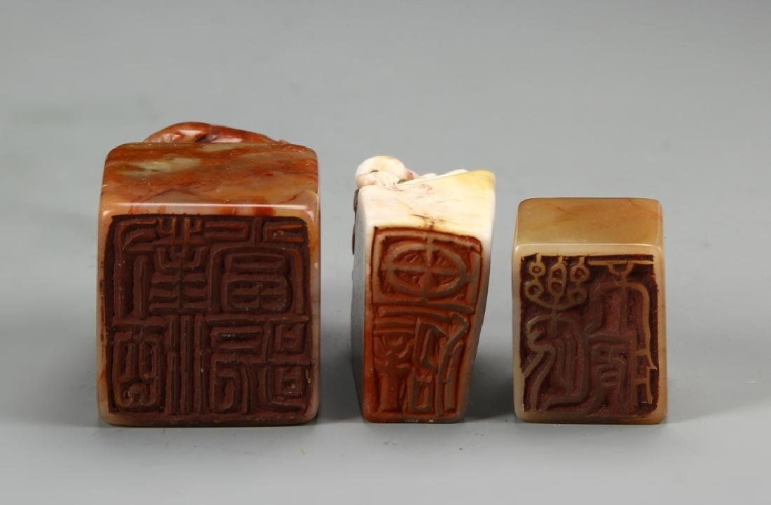 Three Chinese Stone Seal Chops - 3