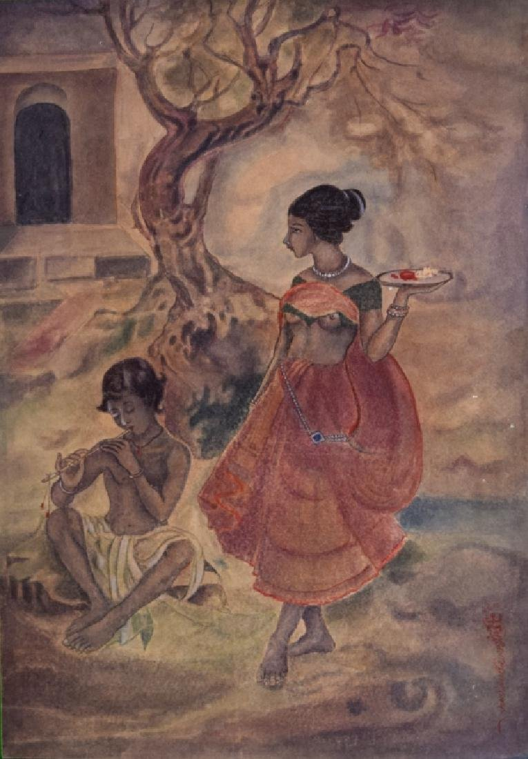 Indian Old Bengal Wash By Samarendra Nath Ghosh