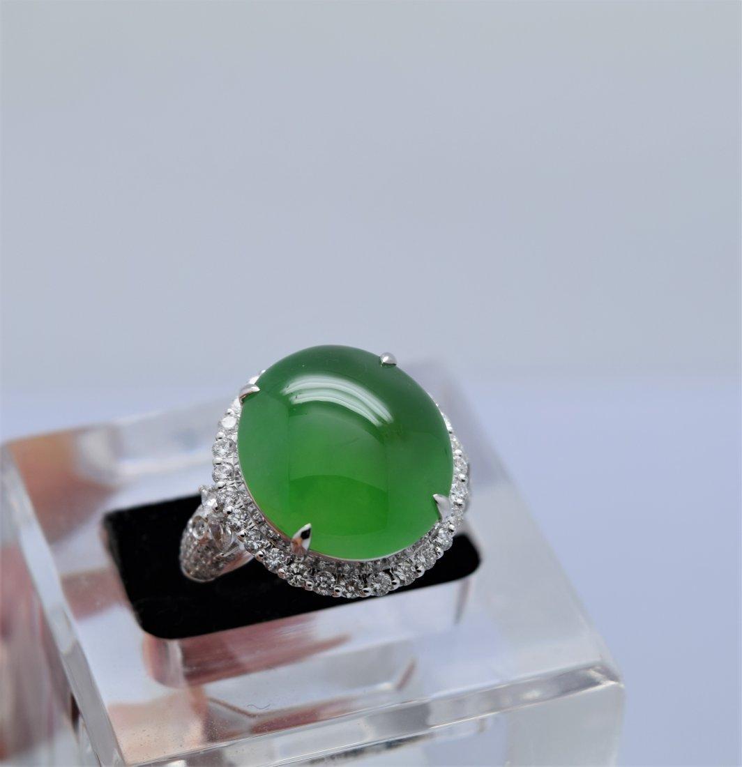 Large and Rare Natural Jadeite Diamond Ring