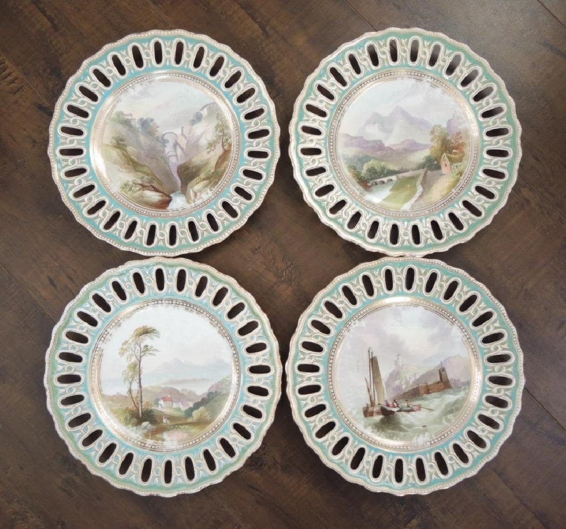 Set of 14 Copeland Hand Painted Dessert Plates