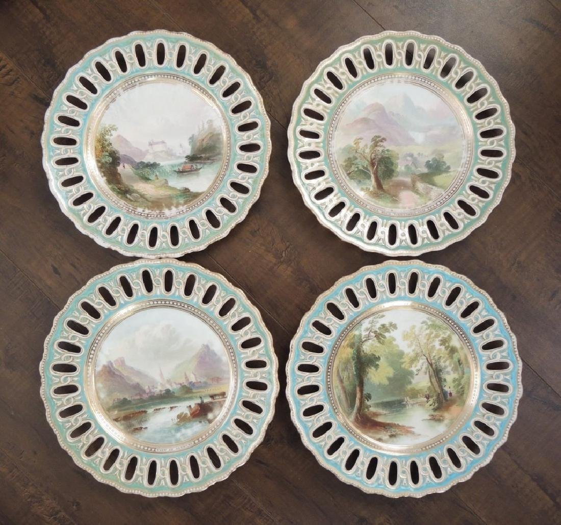 Set of 14 Copeland Hand Painted Dessert Plates - 4