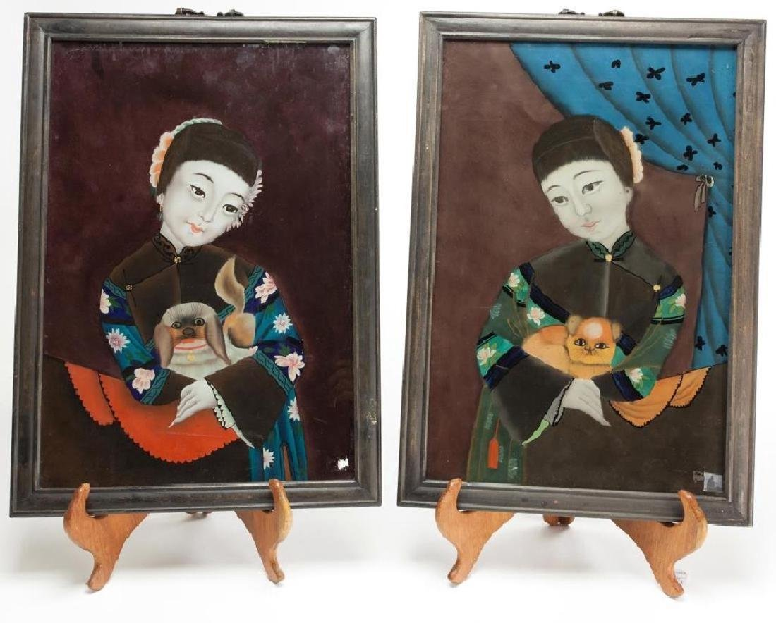 Pair of Chinese Reverse Glass Paintings