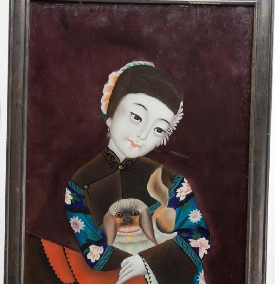 Pair of Chinese Reverse Glass Paintings - 2