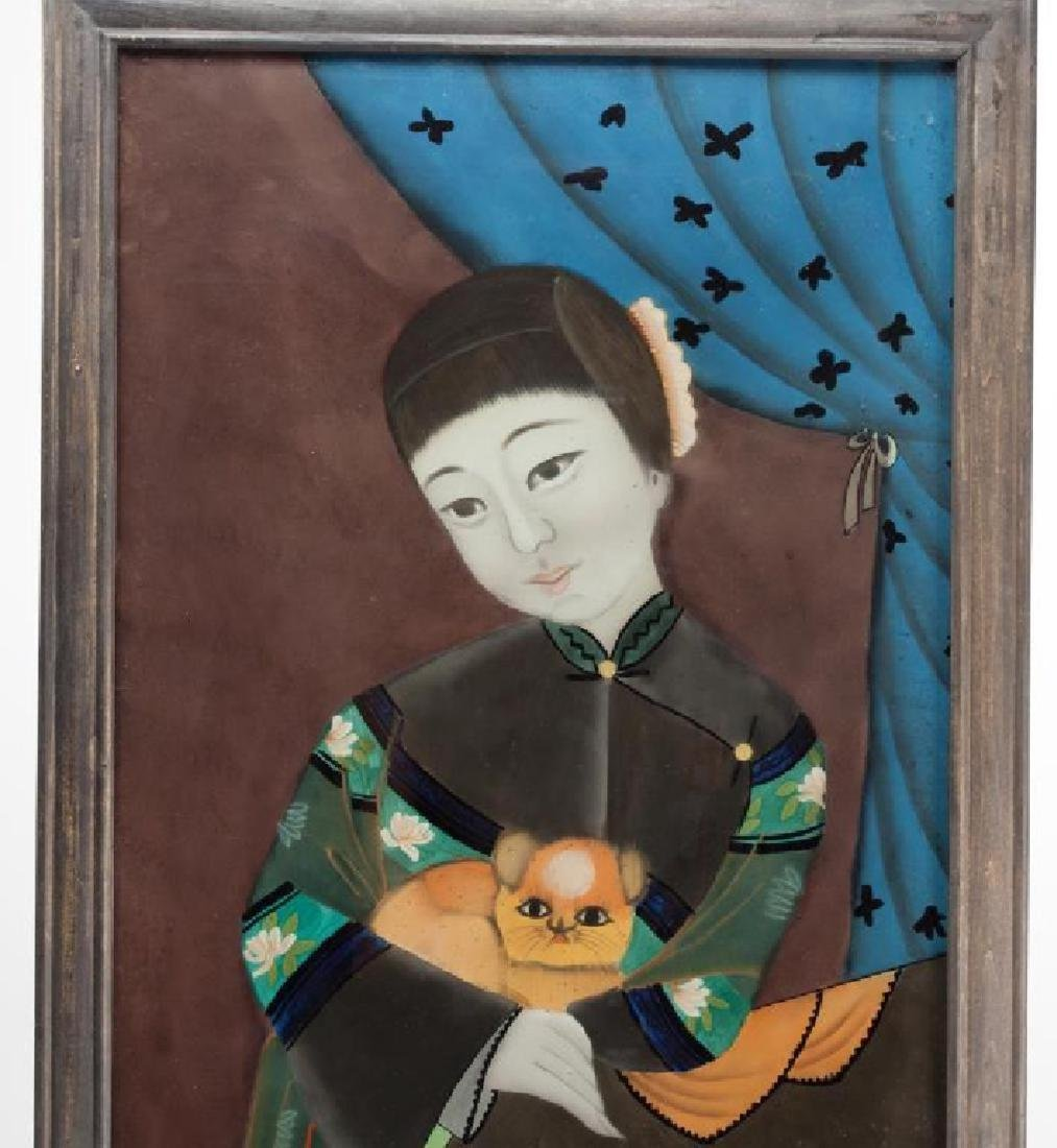 Pair of Chinese Reverse Glass Paintings - 3