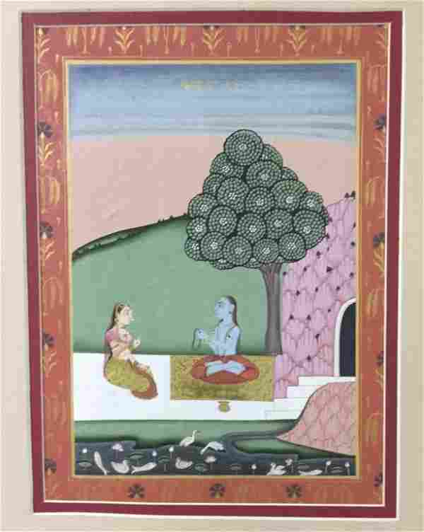 A Set Of Three Indian Miniature Paintings