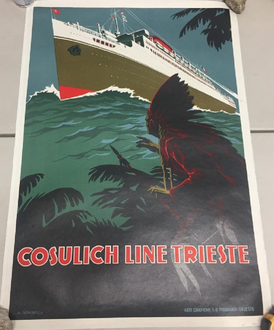 Cosulich Line Trieste, Vintage Travel Poster