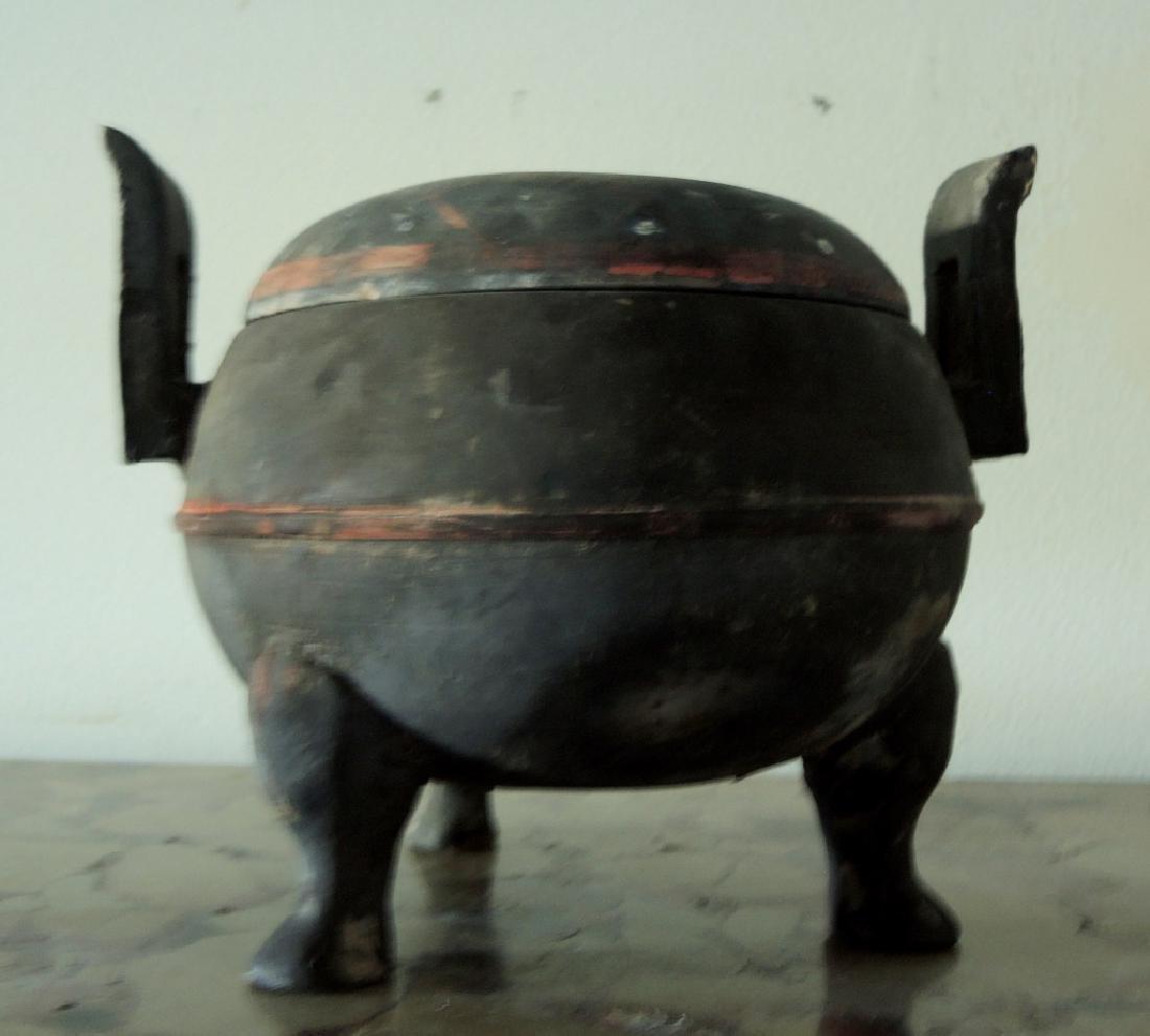 Chinese Pottery Tripod Lidded Jar