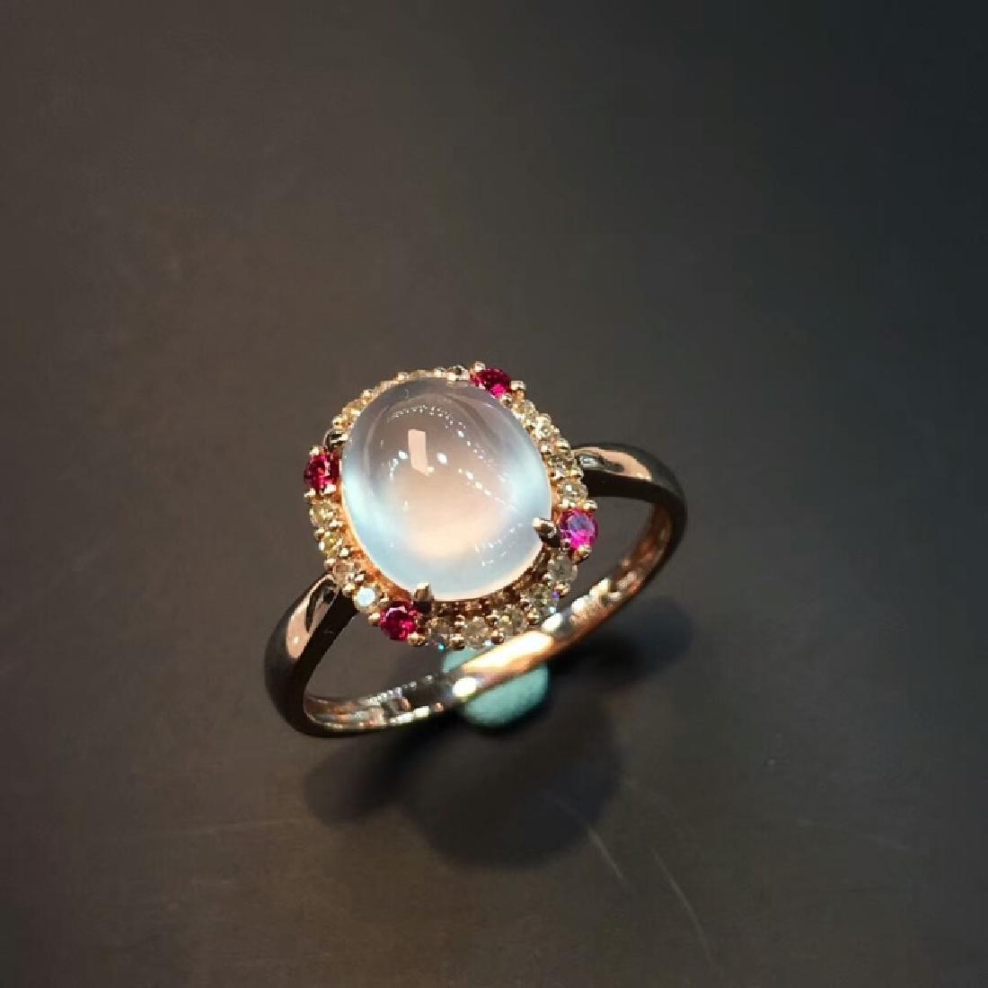 Glassy Jadeite Jade Diamond Ring