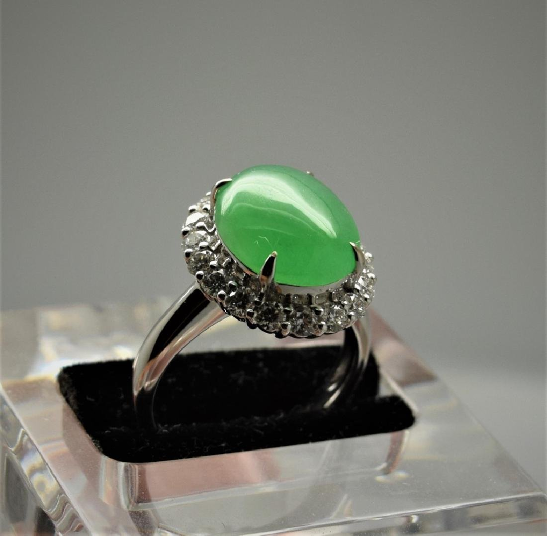 Icy Apple Green Jadeite Diamond Ring