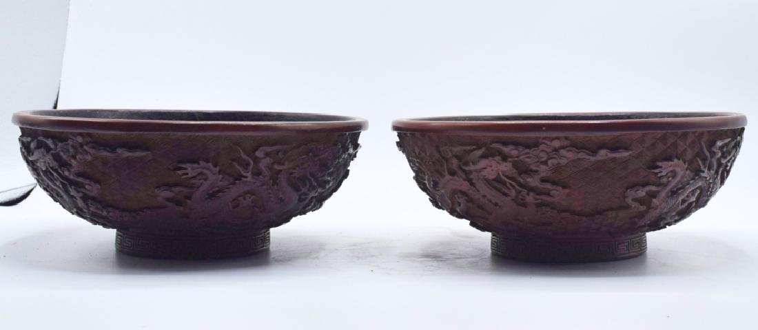 A Pair of Chinese Cinnabar Bowls