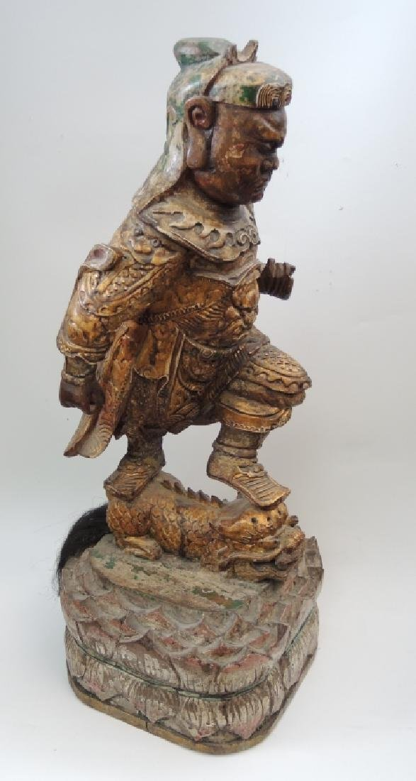 Large Chinese Carved Wood Statue of a Warrior
