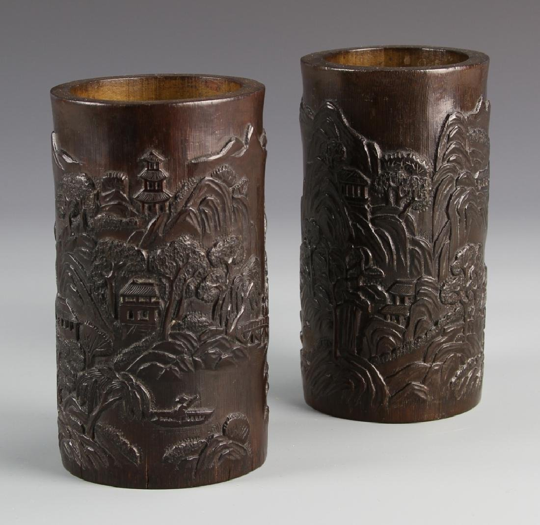 Pair of Chinese Bamboo Brush Pots