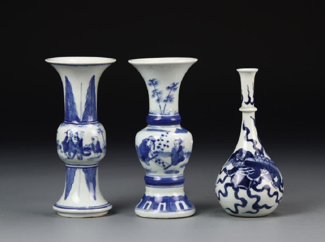 Three Chinese Blue and White Vases