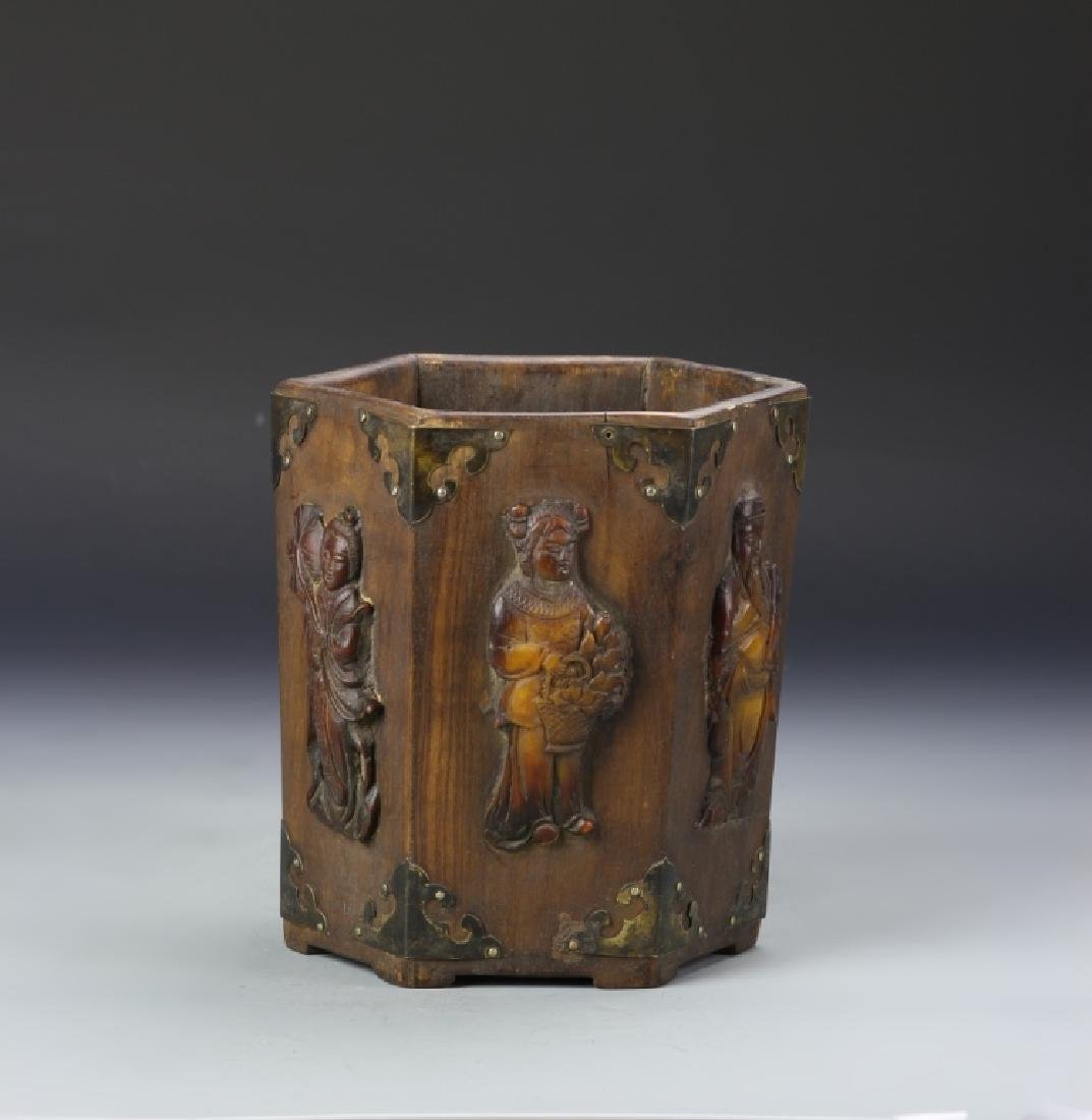 Chinese Hardwood Brush Pot with Inlays