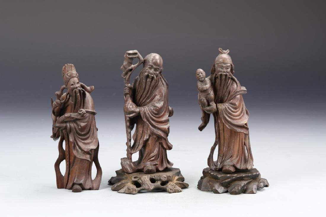 Three Chinese Carved Wood Figurines - 2