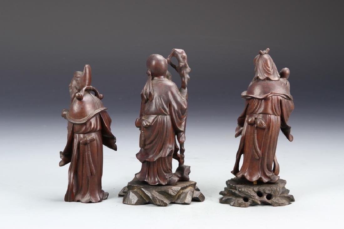 Three Chinese Carved Wood Figurines - 3