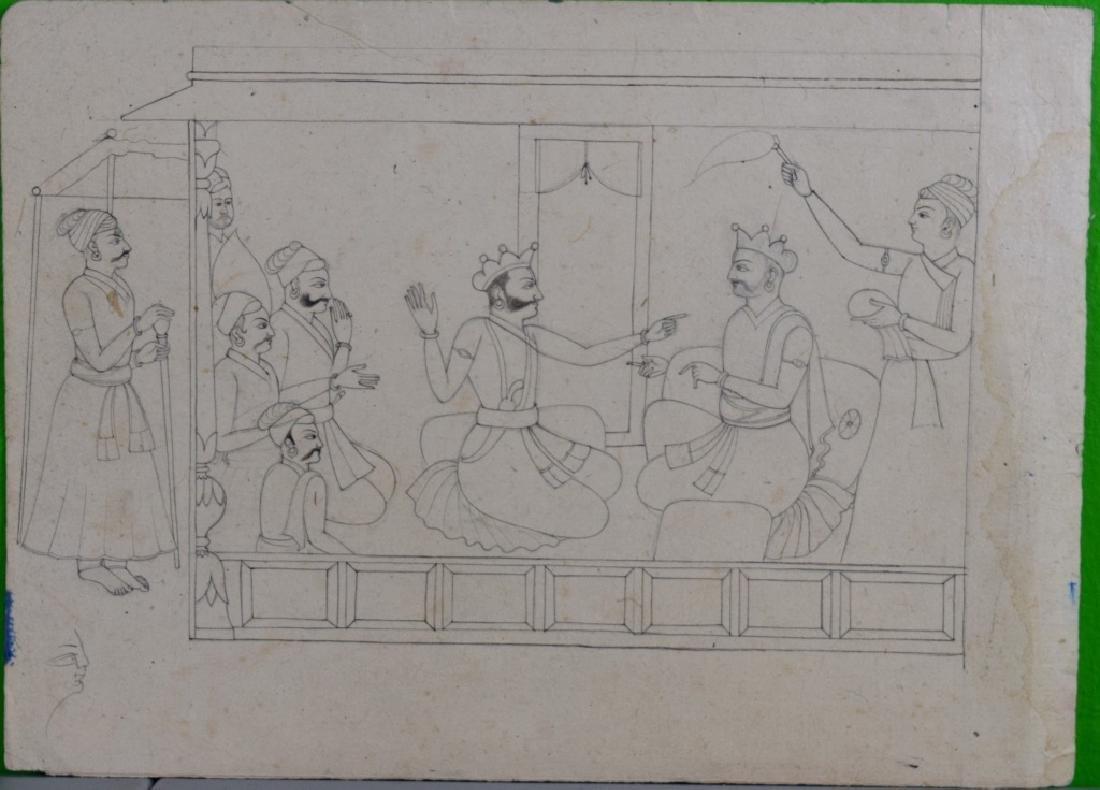 Three Pahari Indian Sketch Paintings