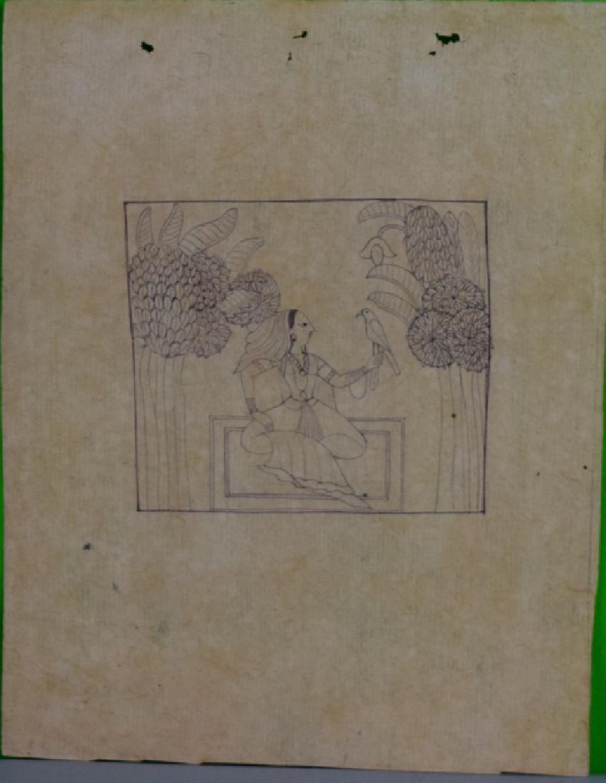 Three Pahari Indian Sketch Paintings - 2