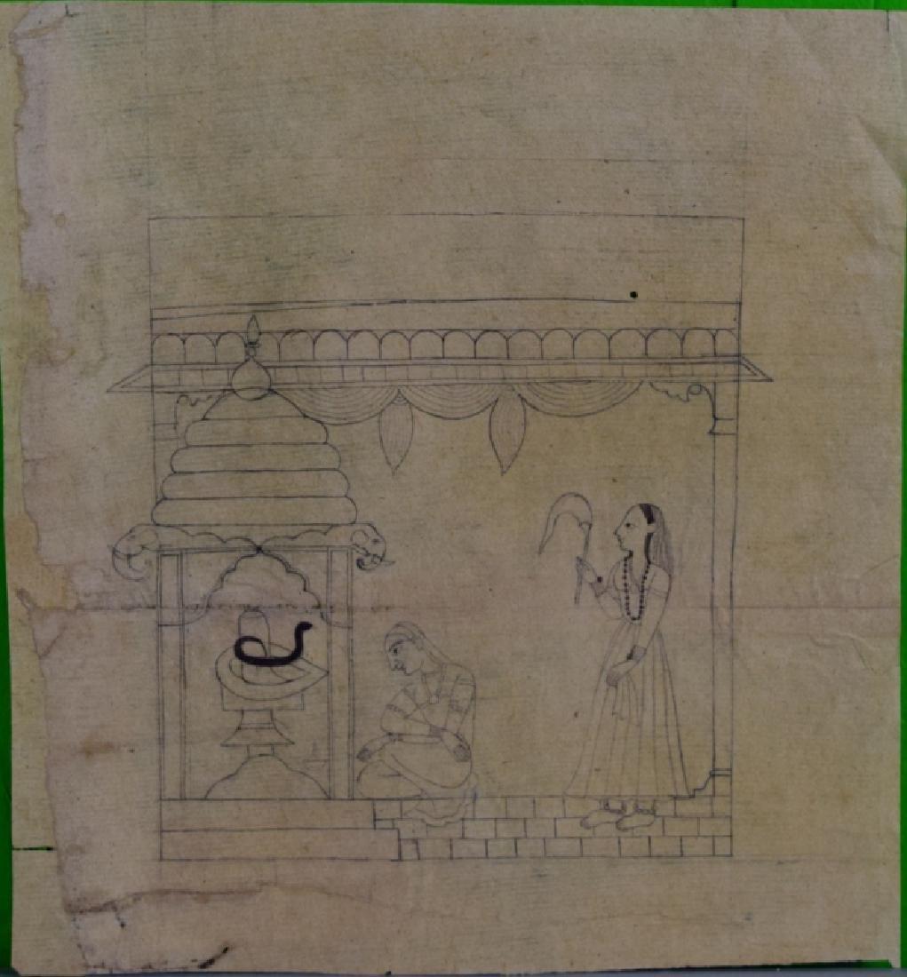 Three Pahari Indian Sketch Paintings - 3