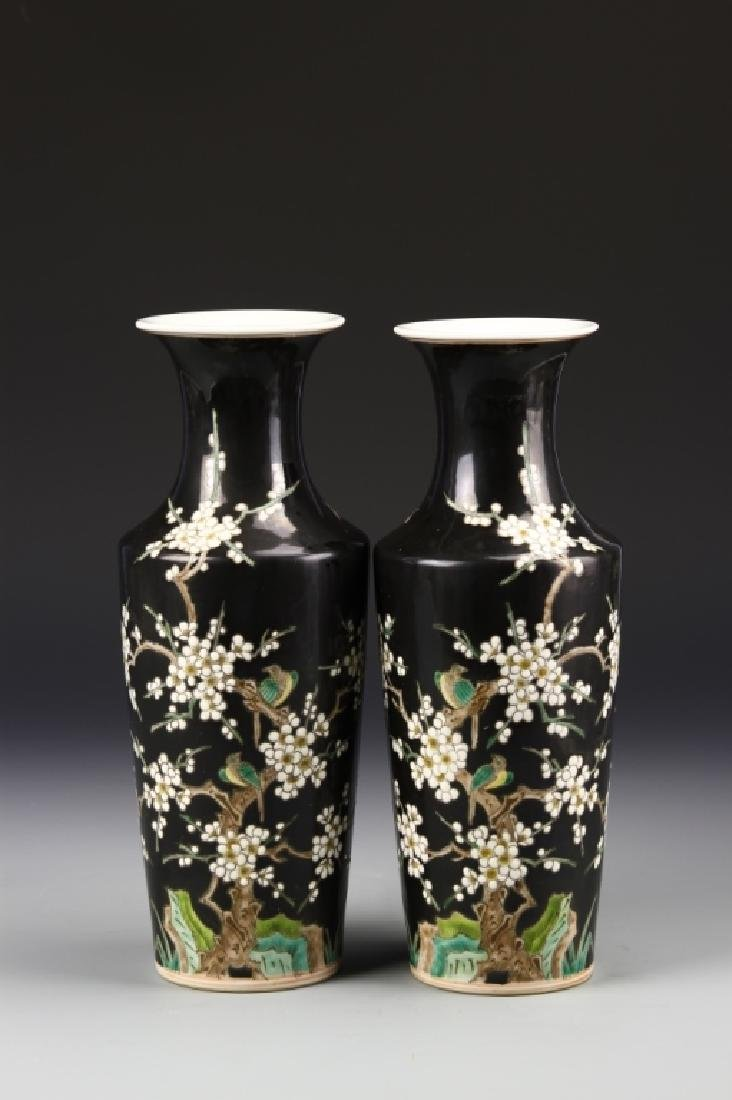 Pair of Chinese Famille Noir Vases