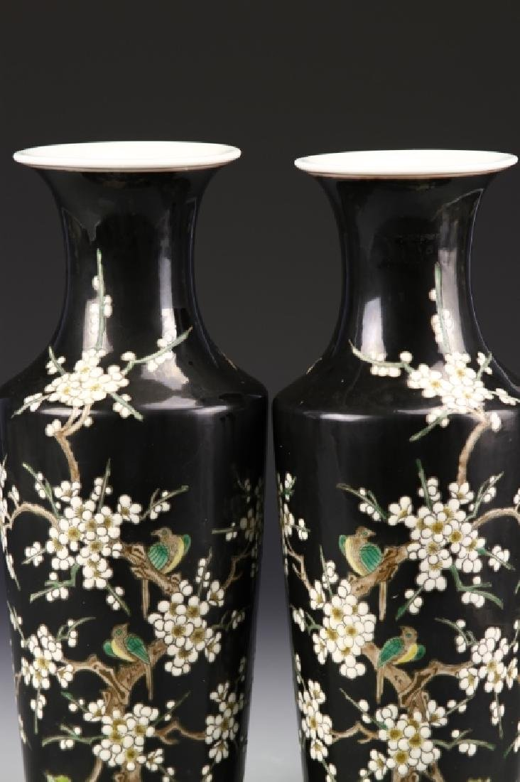 Pair of Chinese Famille Noir Vases - 2