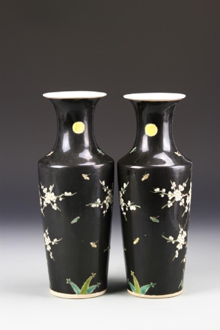 Pair of Chinese Famille Noir Vases - 3