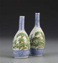 Pair of Famille Rose and Blue and White Vases