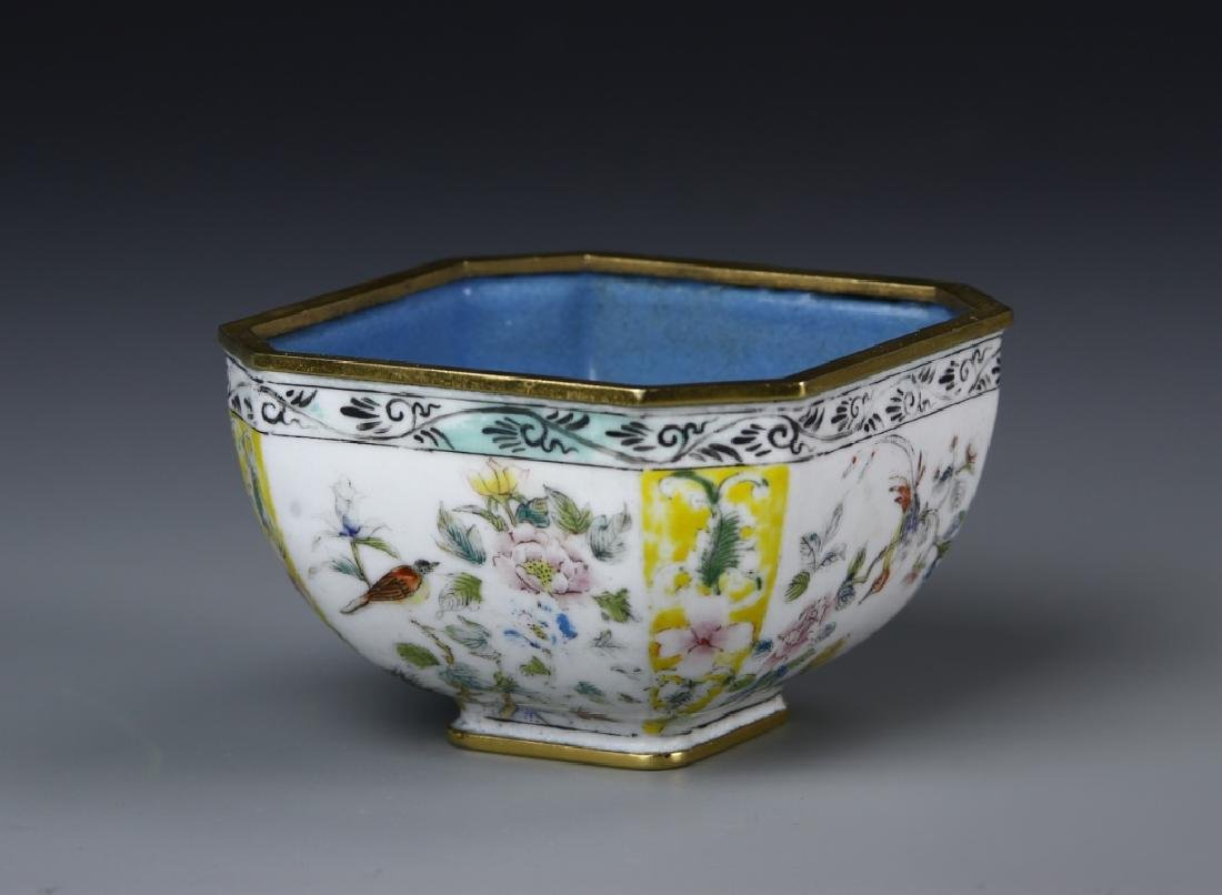 Chinese Enameled Brass Square Bowl