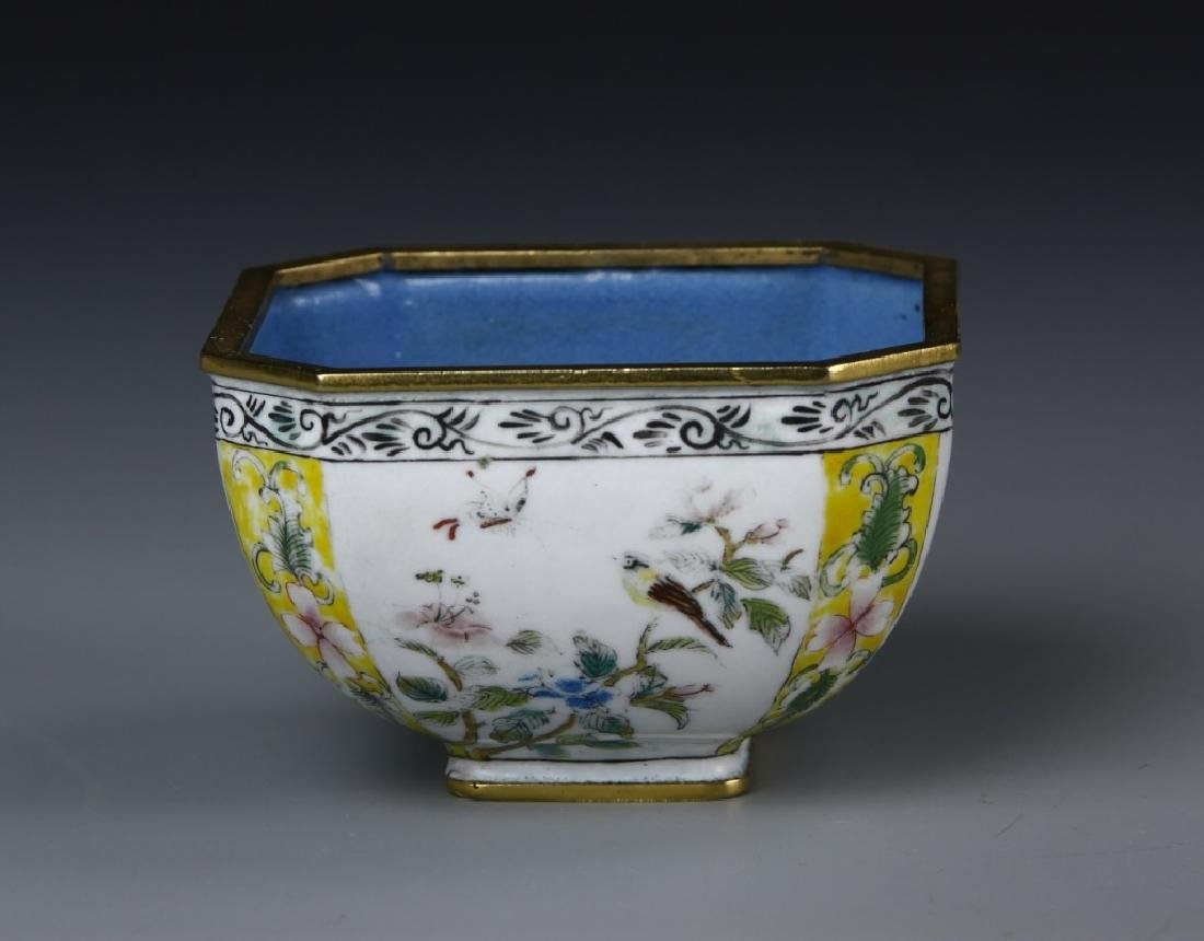 Chinese Enameled Brass Square Bowl - 2