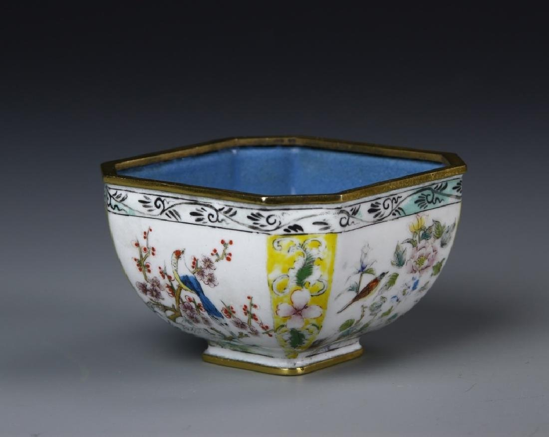 Chinese Enameled Brass Square Bowl - 3