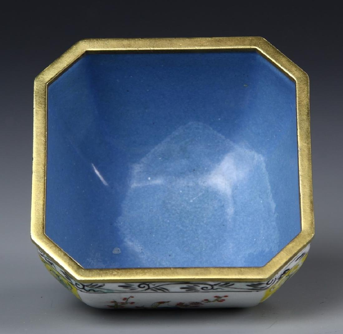 Chinese Enameled Brass Square Bowl - 4