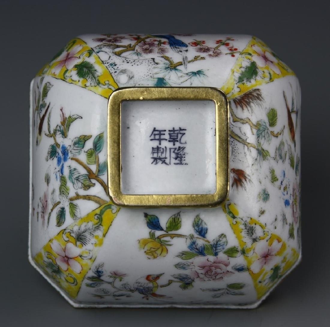 Chinese Enameled Brass Square Bowl - 5