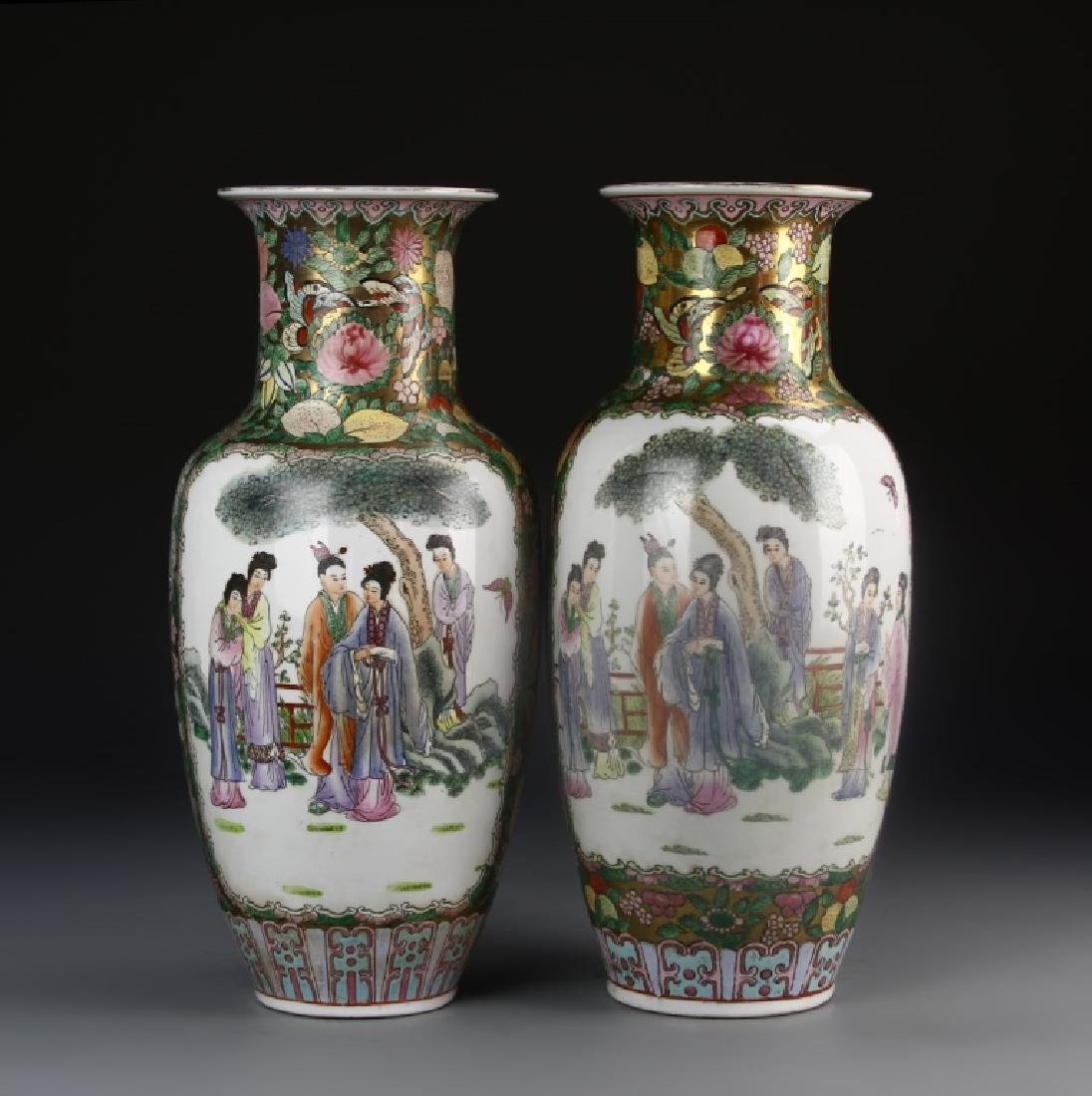 A Pair Of Faille Rose Vase - 3