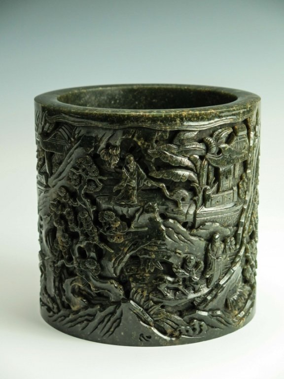 CHINESE CARVED SPINACH JADE BRUSH POT