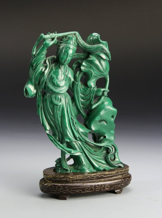 CHINESE CARVED MALACHITE OF A BEAUTY