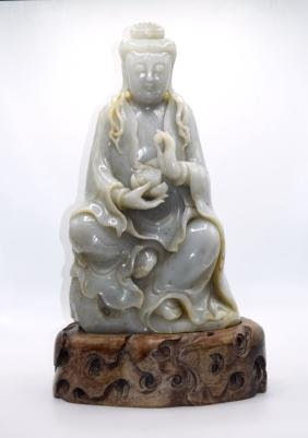 Mssive Chinese Jade Statue of Guanyin