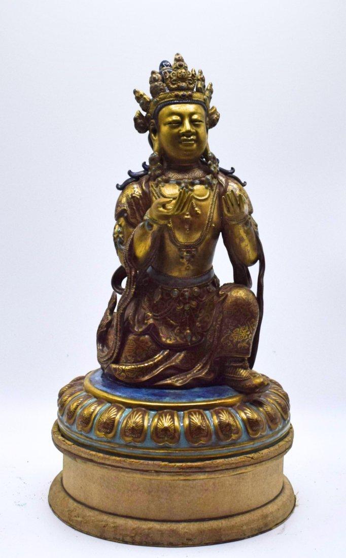 CHINESE GILT PORCELAIN BUDDHA STATUE
