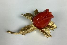 Cellino Red Coral 14k YG Flower Brooch