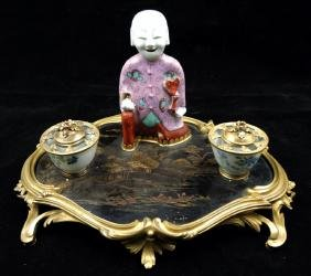 FRENCH CHINOISERIE PORCELAIN GILDED BRONZE INKWELL
