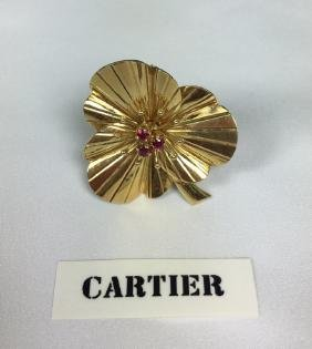 Cartier 14K Yellow Gold Ruby Pansy Clip Brooch