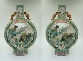 PAIR OF CHINESE FAMILLE VERTE MOON FLASKS